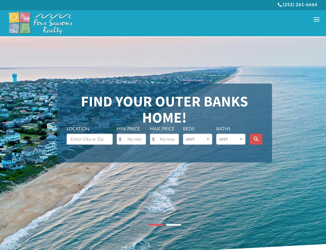 Four Seasons Realty Homepage Screenshot Outer Banks Internet