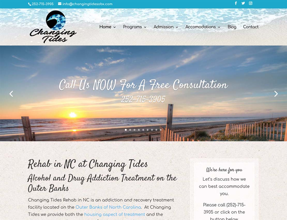 Changing Tides Website Screenshot Outer Banks Internet